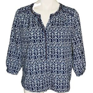 Skies Are Blue 3/4 Sleeve Blue Patterned Blouse